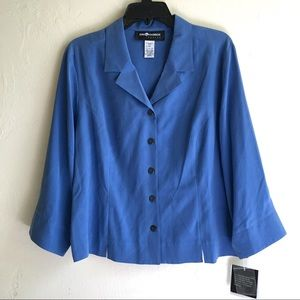 New Sag Harbor Blue Silk Blouse 3/4Sleeves Sz14P